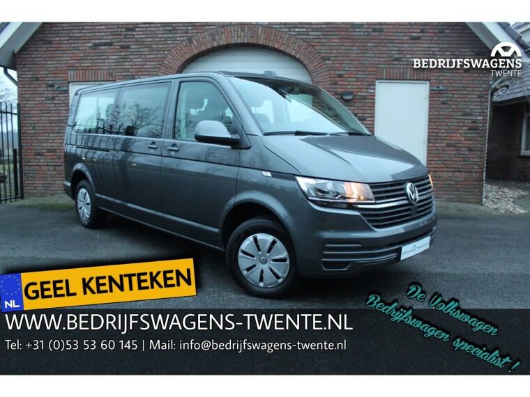 Foto van Volkswagen Transporter T6 .1 2.0 TDI 150 pk DSG LWB GEEL KENTEKEN 9-PERS
